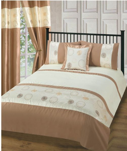 BEIGE COLOUR STYLISH EMBROIDERED DESIGN DUVET QUILT COVER SET LUXURY BEDDING
